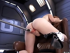 Big ass hottie fucked by machine