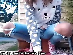 Goldstandardcams  found a video of my sister playing with herself outside - part 1