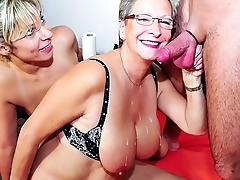 XXX OMAS - German mature blondes sharing stiff cock