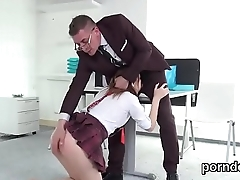 Kissable schoolgirl is seduced and poked by elder mentor