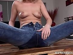 Peeing Her Pants - Hot blonde gets wet during pussy play