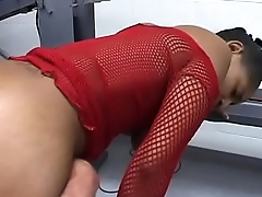 Swee black babes in red lingeries suck pole to satisfaction