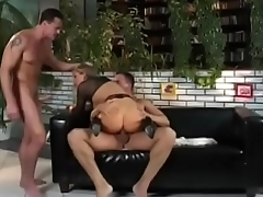 Cute European blonde Monika in black outfit gets face fucked in the V.I.P. Room.
