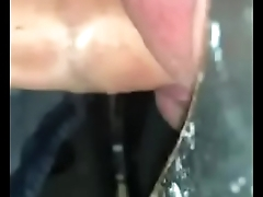 Filling a guys mouth with cum at a gloryhole