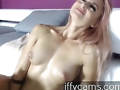 Orgasm caused by pink vibrator in the vagina