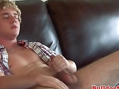 Handsome stud cums after tugging his dick