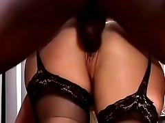 Horny blonde whore Olivia Saint in stockings likes to be surrounded by big black cocks
