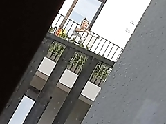 Jerking off while my mature neighbour watching me