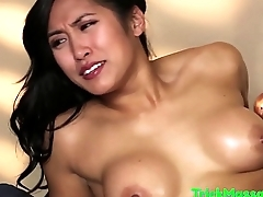 Trimmed asian babe tricked by her masseur