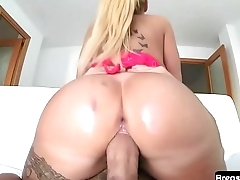 Oiledup MILF shakes her booty and rides cock