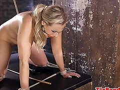 Busty bondage milf gags while getting whipped