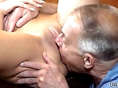 DADDY4K. Old man with boner penetrates attractive girl right on table