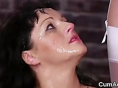Unusual centerfold gets jizz shot on her face swallowing all the jizm