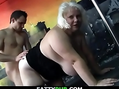 Huge melons blonde plumper getting doggy-fucked