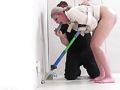 Crazy blond gets an assfucking on a pogo stick with rimjob punishment