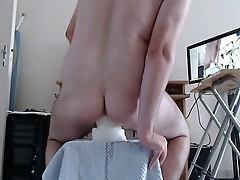 Anal stretching with some huge toys