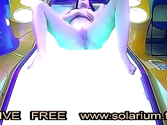 Horny Girl in the real public tanning salon masturbating on the solarium with a hidden camera filmed