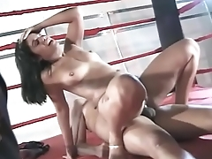 Brunette Brazilian babe is on her knees sucking a cock