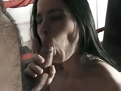Natural titted brunette rides a dick and gets cum on her face