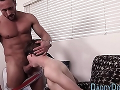 Tied stepson throats dick