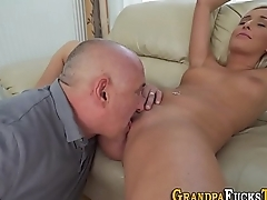 Teen jizzed by old gramps