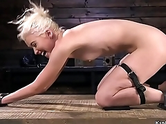 Flexible skinny blonde tormented in device