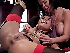 Hot slave and apprentice anal threesome