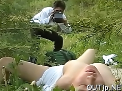 Horny playgirl gets a big meaty dick in her face outdoors