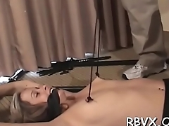 Robust tattooed slut gets ball gagged and bounded taut