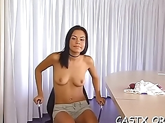 Hot juvenile slut yearns for a portion of cum at a casting