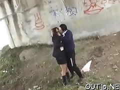 Real sex scene as excited pair gets down to business outside