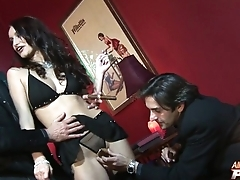 Skillful pornstar is ready to take several cocks
