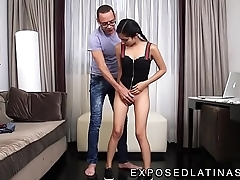 www.EXPOSEDLATINAS.com Betty La Ternurita Amateur Latina Pornstar gets her pants pulled off by her stepdad stepfather