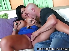 www.EXPOSEDLATINAS.com Angelina Castro Latina pornstar biting her nipples and playing with her pussy