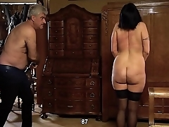 Full force whip strikes on the chubby bitch&rsquo_s back and pussy