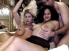 Horny Dude Having A Hot Threesome With A Babe And A Tranny