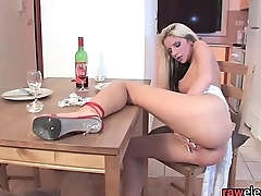 Glam beauty anally dildoing on the table