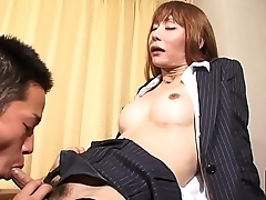 Fishnet ladyboy sucking dick before sex
