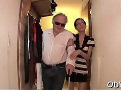Aged man gets his old dick juicy by fucking a younger chick