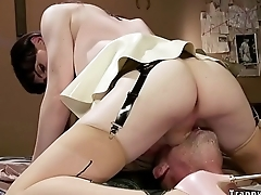Dude with gag cock anal fucks tranny