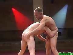 Athletic hunk assfucking wrestling submissive