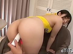 Fascinating tits asian bends over for stud'_s wicked fingering