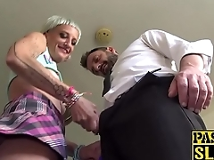 Debaucherous babe sucks maledom dick before rough plow