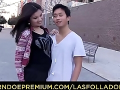 LAS FOLLADORAS - Asian pornstar Miyuki Son fucks Spanish and Chinese guys while redhead is watching
