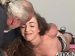 Hot female screwed and stimulated in extreme slavery