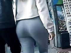 Lovely PAWG Teen Big Round Ass Candid Voyeur in Grey Cotton Pants - CandidSluts.com Video CS-082