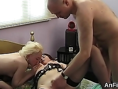 Feisty lesbian sex kittens are spreading and fist fucking anuses