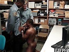 Handsome ebony thief barebacked by two policemen