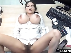 Hot Teen Uses Giant Tits &amp_ Hairy Pussy To Swing Loan Agent Decision