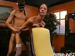 Cute maid is coercive to entertain several horny male rods